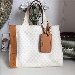 Celine vintage tote bag white /beige